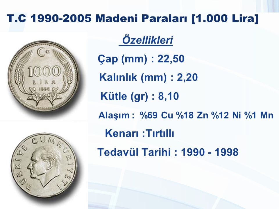 T.C 1990-2005 Madeni Paraları [1.000 Lira]